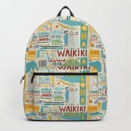 Waikiki Honolulu typographic print Backpack