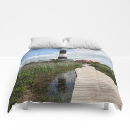 Fire Island Light With Reflection - Long Island Comforters