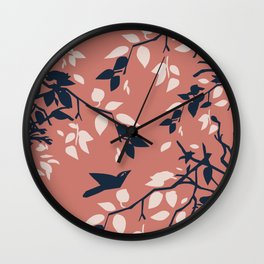 Birds, Leaves & Branches, Pinks and Navy Wall Clock