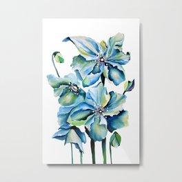 Watercolor Himalayan Blue Poppies Metal Print