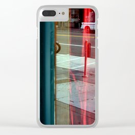 Two Windows - Red Drapes Behind Clear iPhone Case