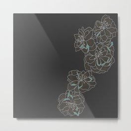 Charcoal Singular Blossom Metal Print