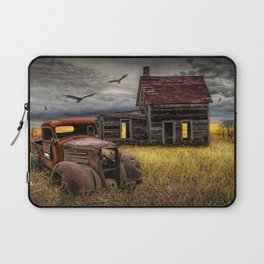 The Death of the Small American Farm with Abandoned Truck and Farm House Laptop Sleeve