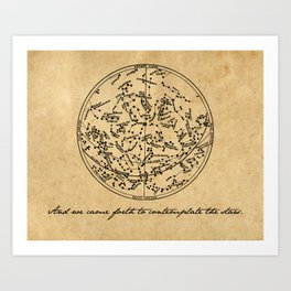 Dante's Inferno - Contemplate the Stars - Dante Alighieri Art Print