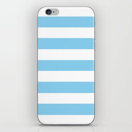 Baby blue - solid color - white stripes pattern iPhone Skin