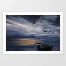 Morning Sunrise with Anchored Wooden Row Boat Art Print