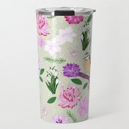 Joyful spring pink toned floral pattern with bird Travel Mug