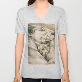 Lioness And The Cub Unisex V-Neck
