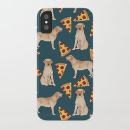 Yellow Labrador pizza cheesy slice of pizza food trendy pet gifts for yellow lab owners dog breed iPhone Case