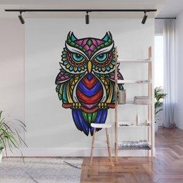 colorful owl zentangle art illustration Wall Mural