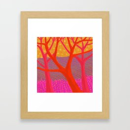 Three Red Trees Framed Art Print