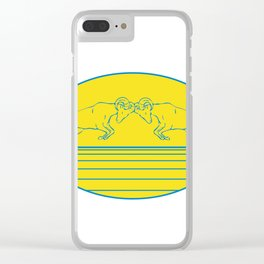 Bighorn Sheep Ram Butting Heads Drawing Clear iPhone Case