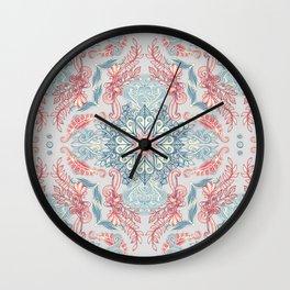 Vintage Fancy - a Pattern in Pale Blue, Navy & Deep Rose Wall Clock