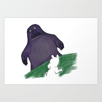 moomin Art Prints featuring Moomin and the Groke by Bensanne