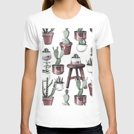 Happy Potted Cacti in Rose Gold Pots T-shirt