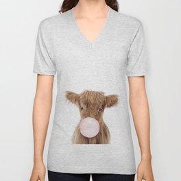 Bubble Gum Highland Cow Baby Unisex V-Neck