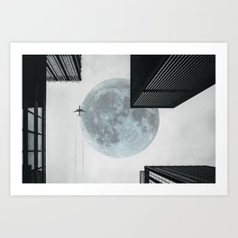 Surreal Urban Moon Art Print