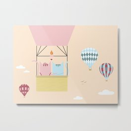 Traveling Tabbies: Hot Air Balloon Metal Print