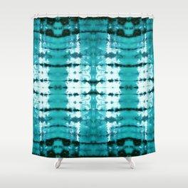 Aqua Satin Shibori Shower Curtain