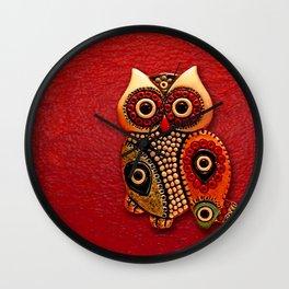 Retro Wood Owl Wall Clock