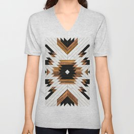 Urban Tribal Pattern 5 - Aztec - Concrete and Wood Unisex V-Neck