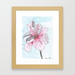 Magnolia Flower watercolor Framed Art Print