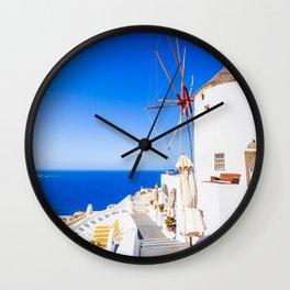Santorini windmill Wall Clock