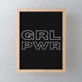 GRL PWR White Outline Framed Mini Art Print