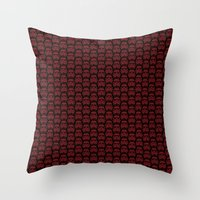 burgundy Throw Pillows featuring  Burgundy Stormtroopers by foreverwars