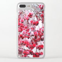 Icy Rowan Red Berries Winter Scene #decor #society6 #buyart Clear iPhone Case
