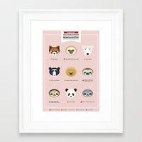 sloths Framed Art Prints featuring Endangered Bears & Sloths by Mirukuru