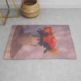 Milk jar and roses Rug