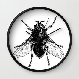 black and white fly Wall Clock