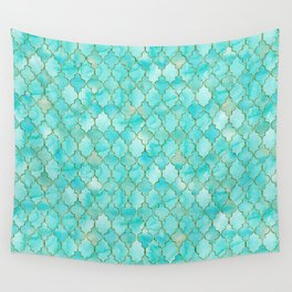 Luxury Aqua Teal and Gold oriental quatrefoil pattern Wall Tapestry
