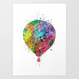 Hot Air Balloon Print Watercolor Vintage Hot Air Balloon Poster Art Print
