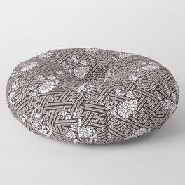 Black Chrysanthemum Auspicious Sayagata Japanese Kimono Pattern Floor Pillow