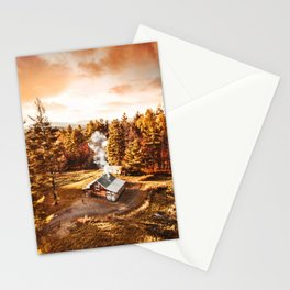 aerial view of a cabin in vermont Stationery Cards
