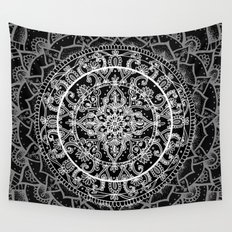 Detailed Black and White Mandala Pattern Wall Tapestry