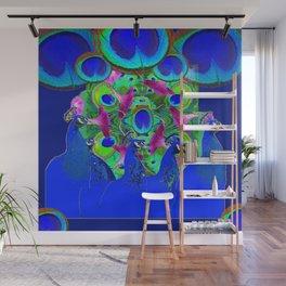 BLUE PEACOCKS & PURPLE MORNING GLORIES Wall Mural