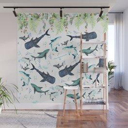floral shark pattern Wall Mural