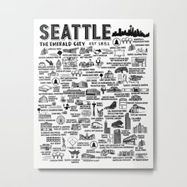 Seattle Map  Metal Print