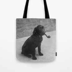 Pipe puffing dog. Tote Bag