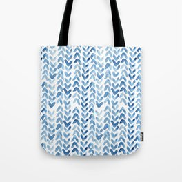 Blue Chevron Watercolour Tote Bag