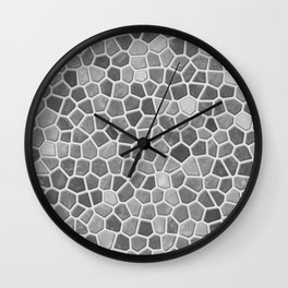 Faux Mosaic in light grays Wall Clock