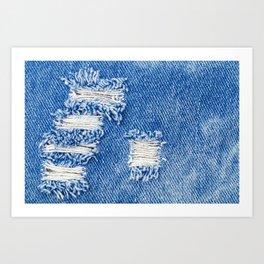 Hole on Denim Jeans. Ripped Destroyed Torn Blue jeans background. Close up blue denim  jean texture  Art Print