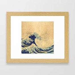 Hokusai parchment Framed Art Print