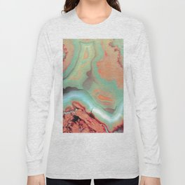 Living Coral and Teal Agate Long Sleeve T-shirt