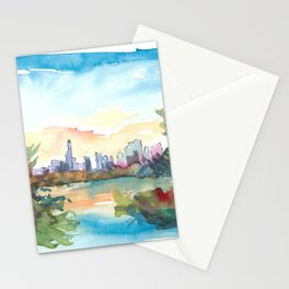 New York Skyline View From Central Park With Pond Stationery Cards