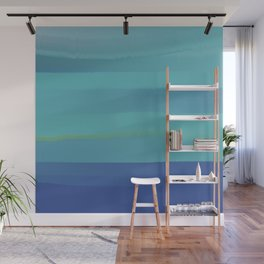Impressions in Teal and Blue Wall Mural