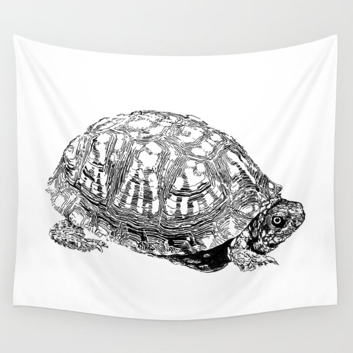 box turtle drawing wall tapestry by dparker society6